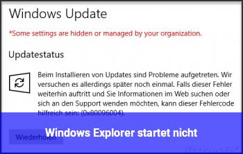 Windows Explorer startet nicht