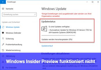 Windows Insider Preview funktioniert nicht