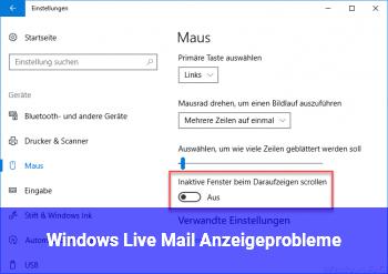 Windows Live Mail Anzeigeprobleme