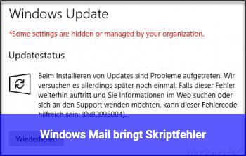 Windows Mail bringt Skriptfehler