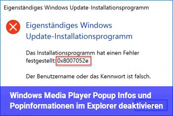 Windows Media Player Popup Infos und Popinformationen im Explorer deaktivieren