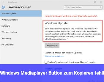 Windows Mediaplayer Button zum Kopieren fehlt