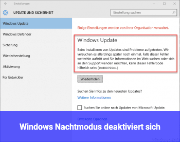 Windows Nachtmodus deaktiviert sich