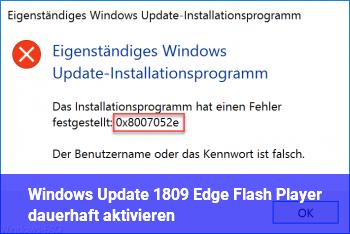 Windows Update 1809 Edge & Flash Player dauerhaft aktivieren