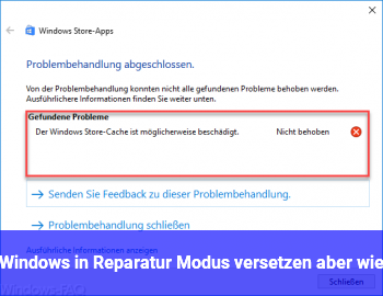 Windows in Reparatur Modus versetzen aber wie
