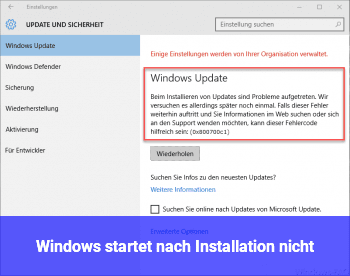 Windows startet nach Installation nicht