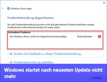 Windows startet nach neuesten Update nicht mehr