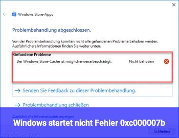 Windows startet nicht. Fehler 0xc000007b
