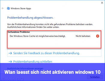 Wlan lässt sich nicht aktivieren windows 10
