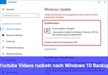 Youtube Videos ruckeln nach Windows 10 Backup