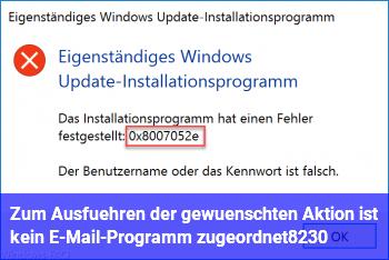 Zum Ausführen der gewünschten Aktion ist kein E-Mail-Programm zugeordnet…