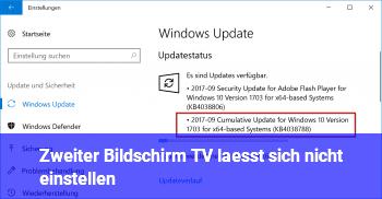 Zweiter Bildschirm (TV) lässt sich nicht einstellen