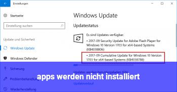 apps werden nicht installiert