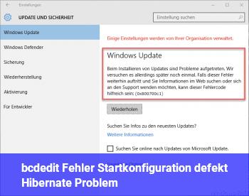 bcdedit Fehler, Startkonfiguration defekt (Hibernate Problem)