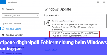 cfp.exe / dbghelp.dll Fehlermeldung beim Windows einloggen