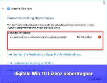 digitale Win 10 Lizenz übertragbar?