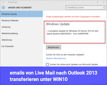 emails von Live Mail nach Outlook 2013 transferieren unter WIN10