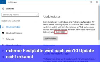 externe Festplatte wird nach win10 Update nicht erkannt