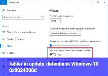 fehler in update-datenbank WIndows 10; 0x8024200d