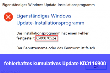 fehlerhaftes kumulatives Update KB3116908