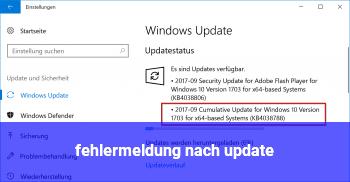 fehlermeldung nach update