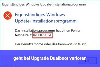 geht bei Upgrade Dualboot verloren?