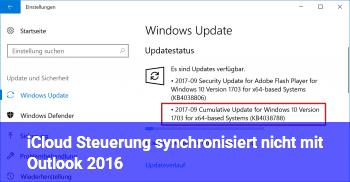 iCloud Steuerung synchronisiert nicht mit Outlook 2016