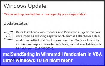 mciSendString in Winmm.dll funtioniert in VBA unter Windows 10 64 nicht mehr