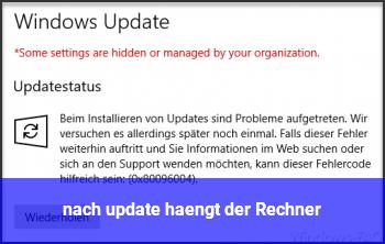 nach update hängt der Rechner