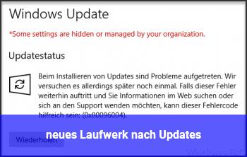 neues Laufwerk nach Updates
