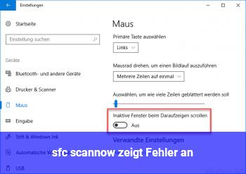 sfc /scannow zeigt Fehler an.