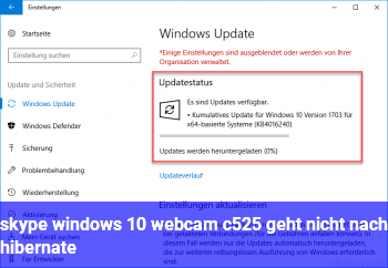 skype windows 10, webcam c525 geht nicht nach hibernate