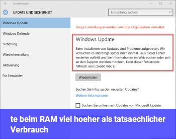 %te beim RAM viel höher als tatsächlicher Verbrauch