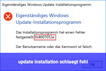 update installation schlägt fehl