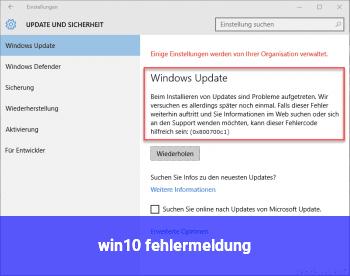 win10 fehlermeldung