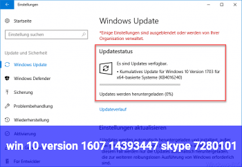 win 10 version 1607 / 14393.447 skype 728.0.101