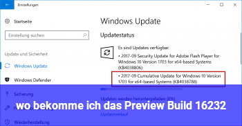 wo bekomme ich das Preview Build 16232